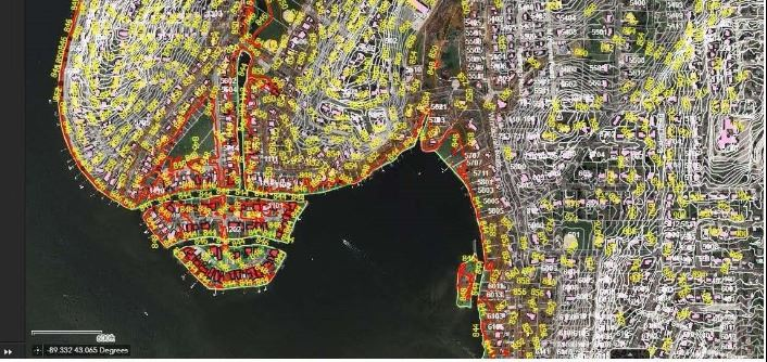 Map of Monona properties affected by flooding