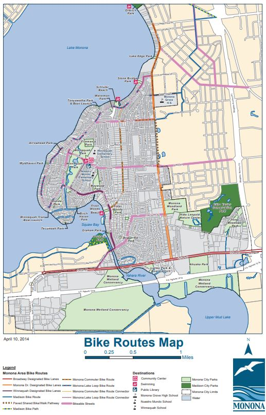 Monona Bike Routes Map Opens in new window